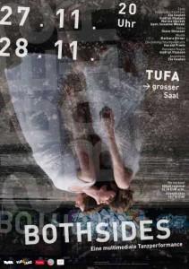 Plakat für BOTH SIDES - eine multimediale Tanzperformance von Gudrun Paulsen