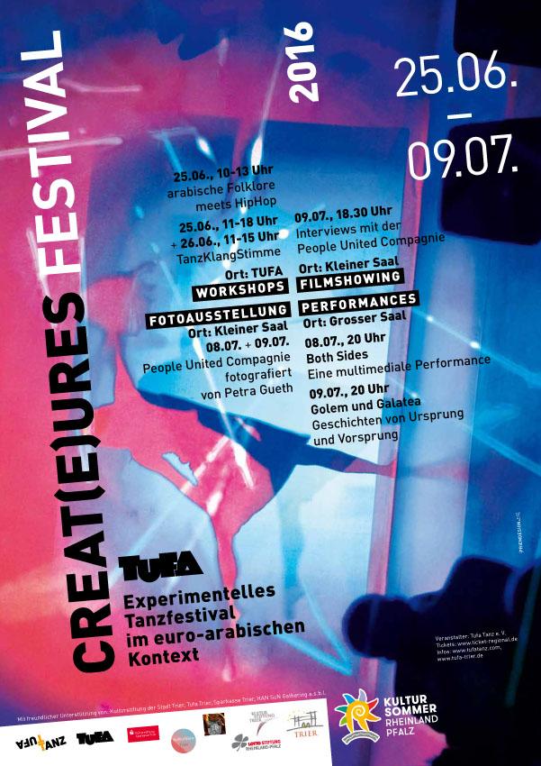 Plakat FESTIVAL CREATURES 25.06.-09.07.2016, TUFA Trier
